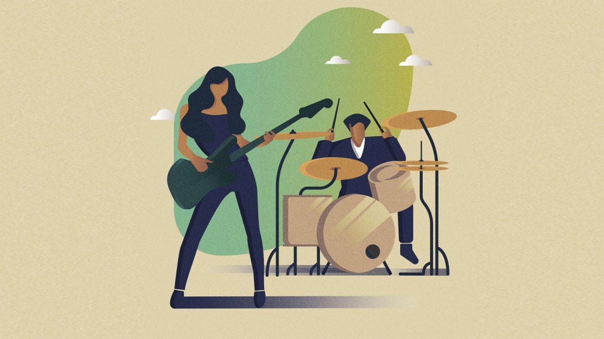 ilustracion banda de rock guitarra y bateria para poster escuela de musica