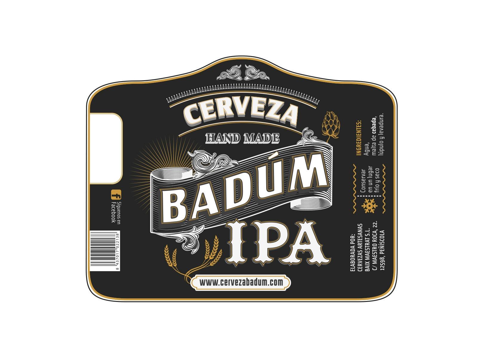 Etiqueta de cerveza IPA Badum Peñiscola
