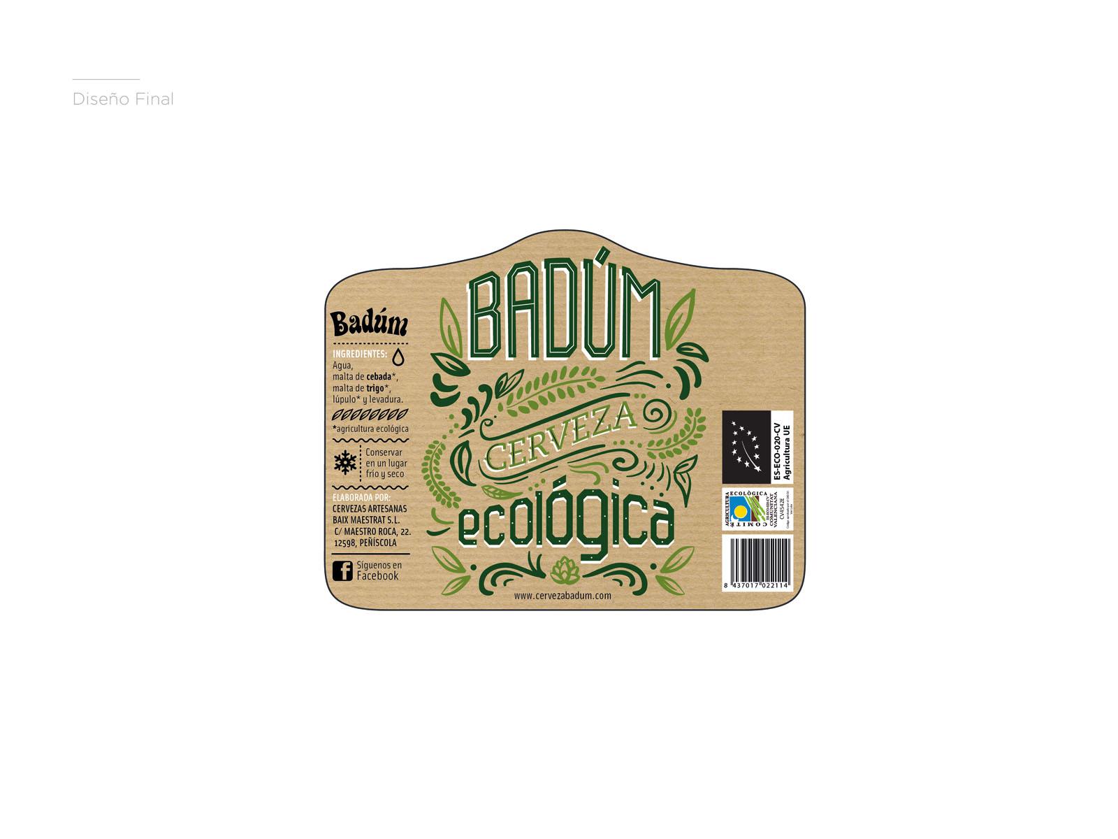 Diseño de etiqueta ecológica para cervezas Badum, papel reciclado, lettering, cerveza eco, packaging para botellas de cerveza, concepto, color, boceto etiqueta