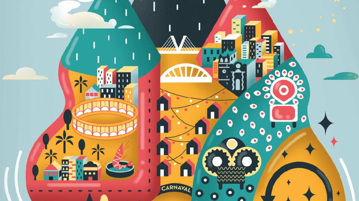 Diseño de cartel para carnavel de Vinaròs 2018, ilustracion vectorial, diseño de poster, mundo de nuca jamás, digital art, cartel ilustrado
