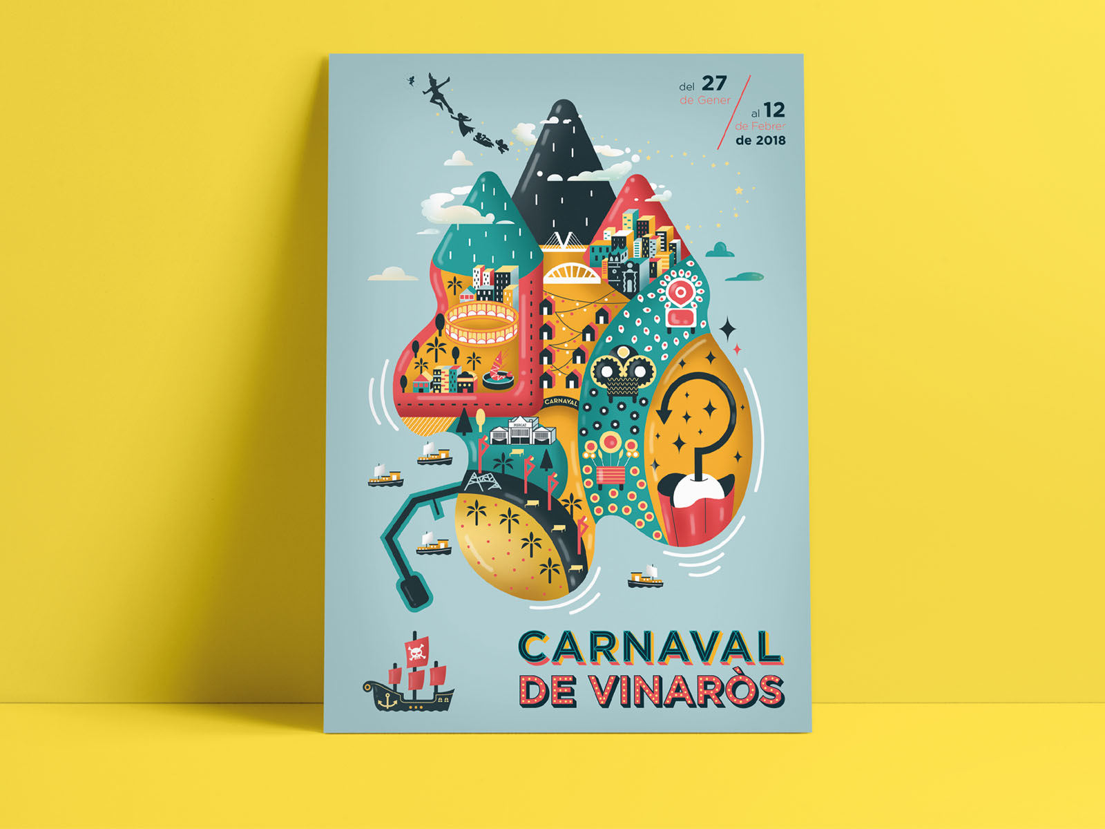 cartel ilustrado para carnaval