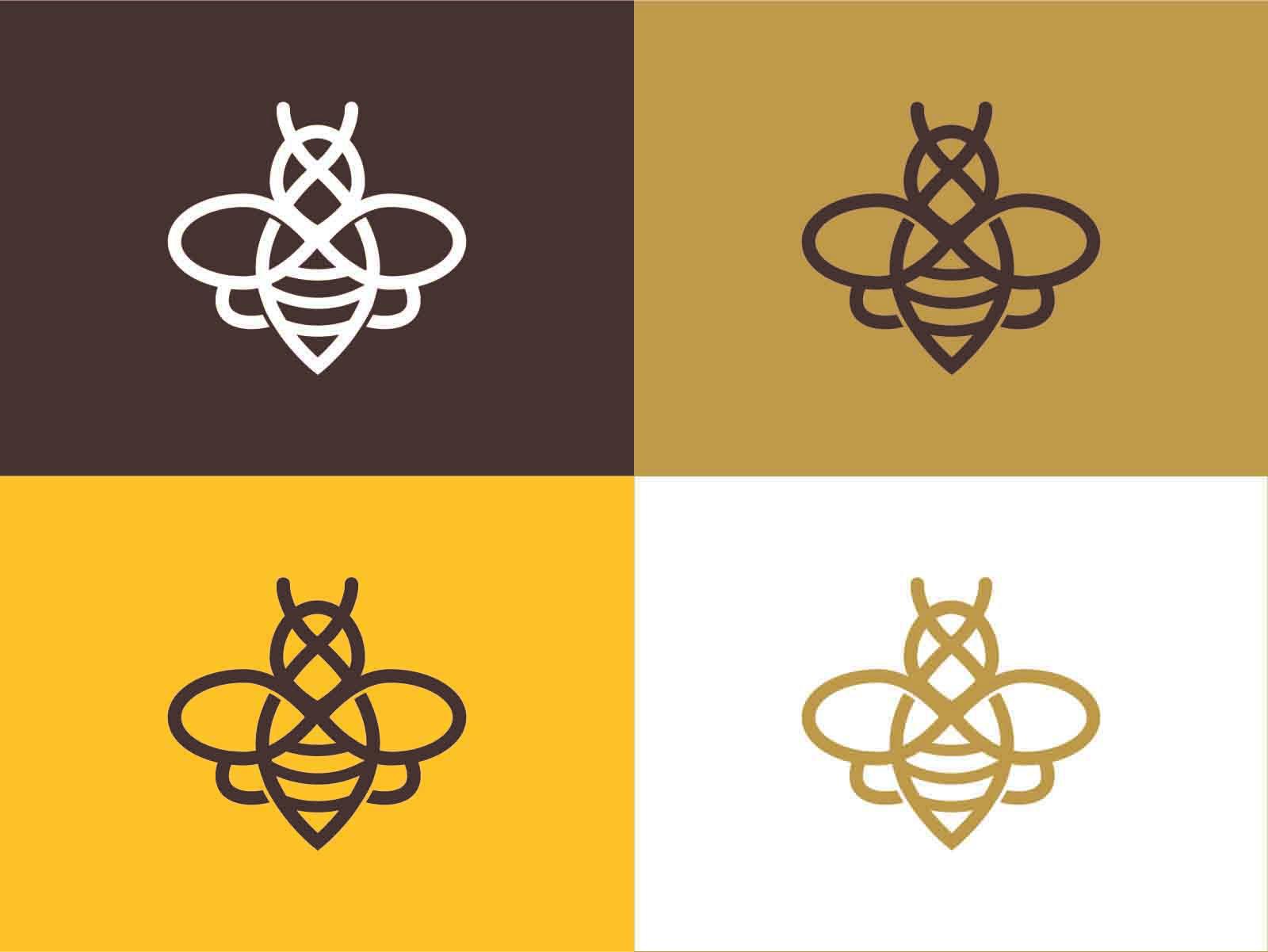 variantes de color, paleta cromática, logosímbolo beeiinnova, logo, color, abeja