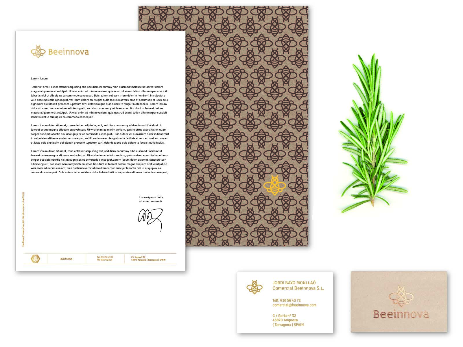branding beeinnova, hoja de carta, papelería corporativa, tarjetas de visita, identidad visual