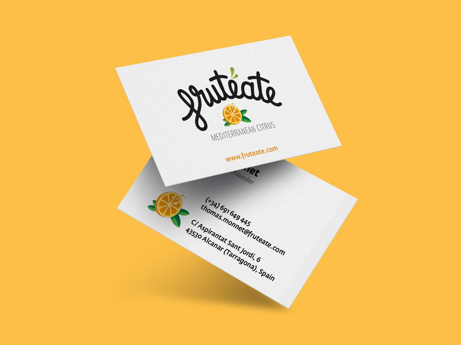 diseño de tarjetas de visita fruteate, logo para empresa de exportación de fruta, naranjas, logotipo, marca fruteate,