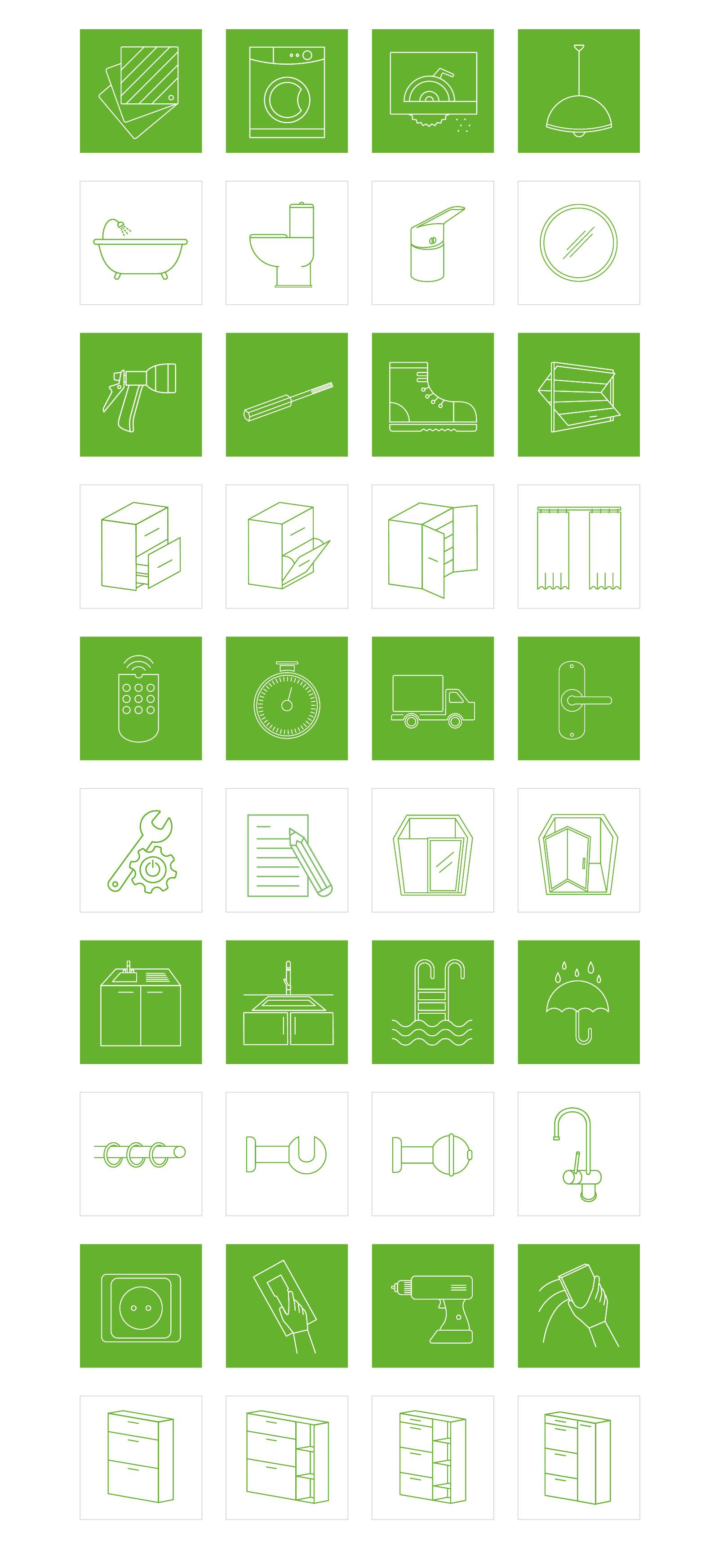 diseño y conceptualización de pictogramas para canales ominmedia, diseño de iconos para Leroy Merlin, icon design