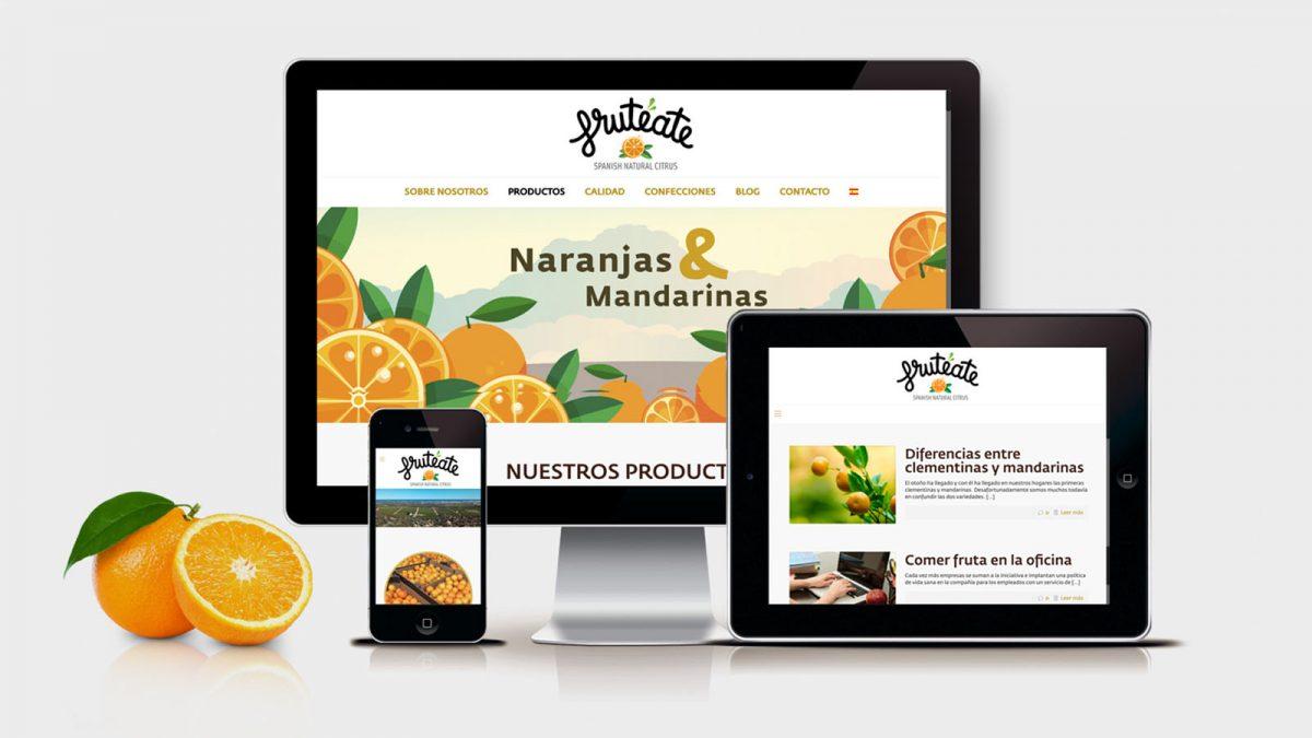 Diseño y programación de página web, página web para Frutéate, Responsive design web, Wordpress