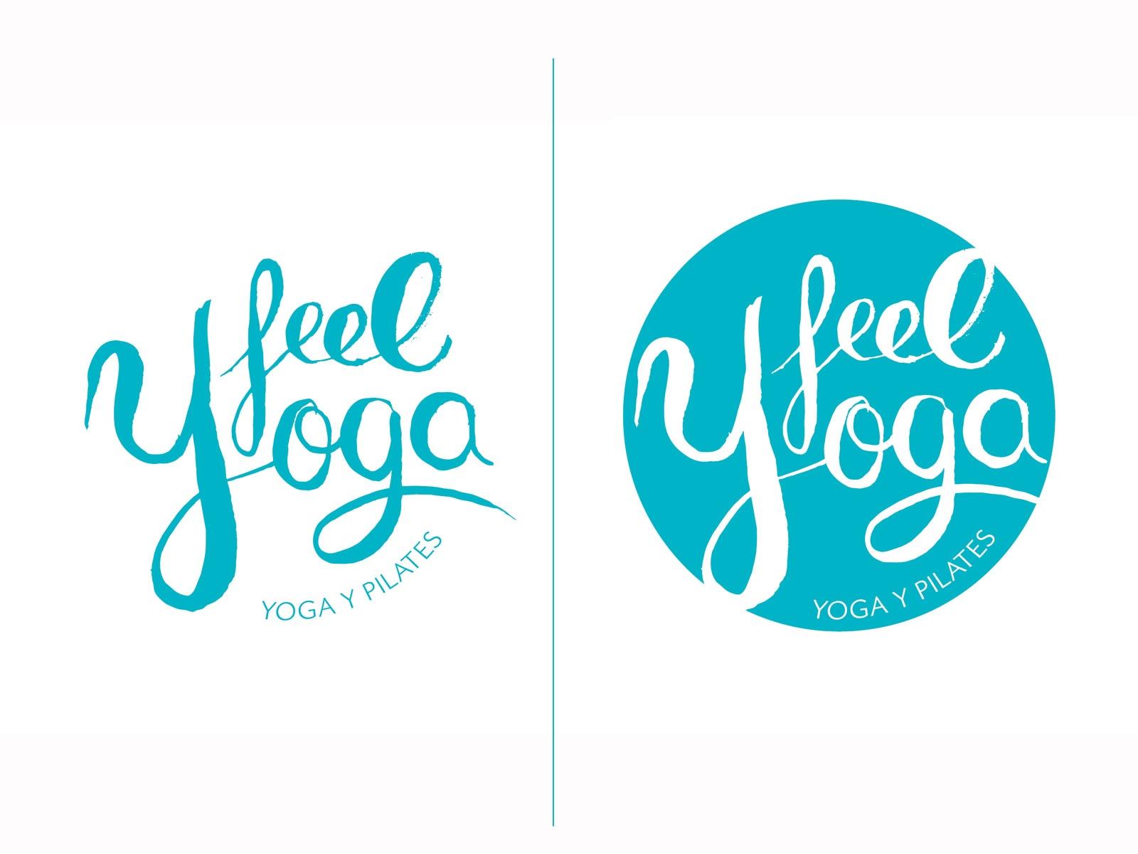 logo feel yoga, logo azul, hanmade logo, diseño de logotipo