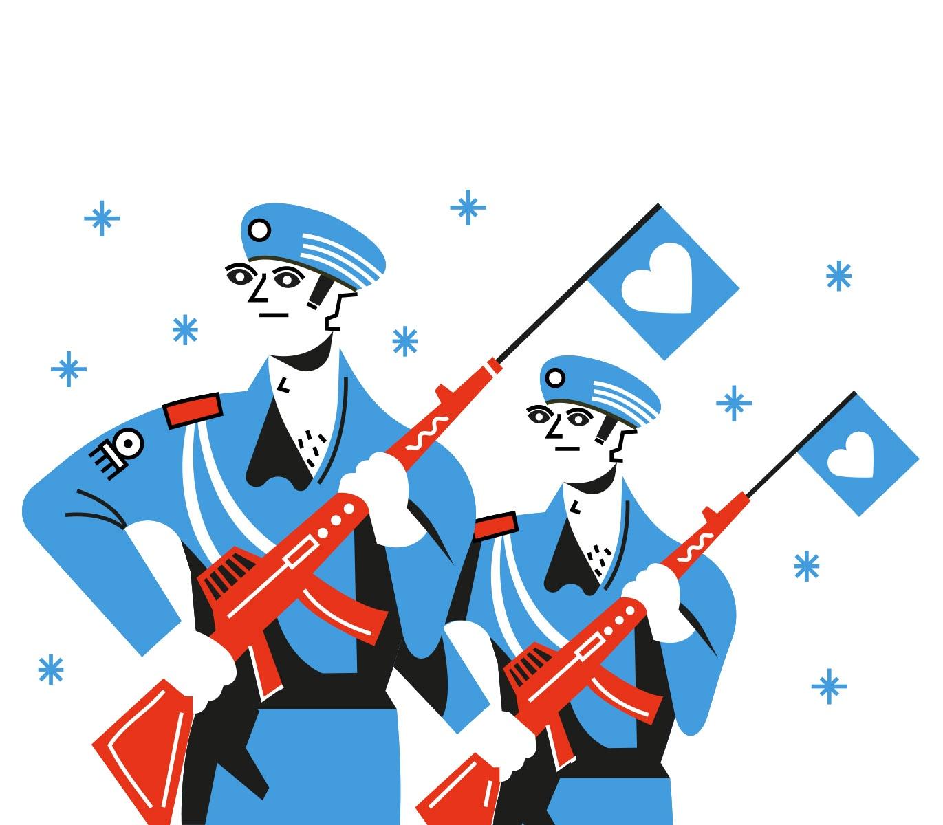 ilustracion vectorial de soldados