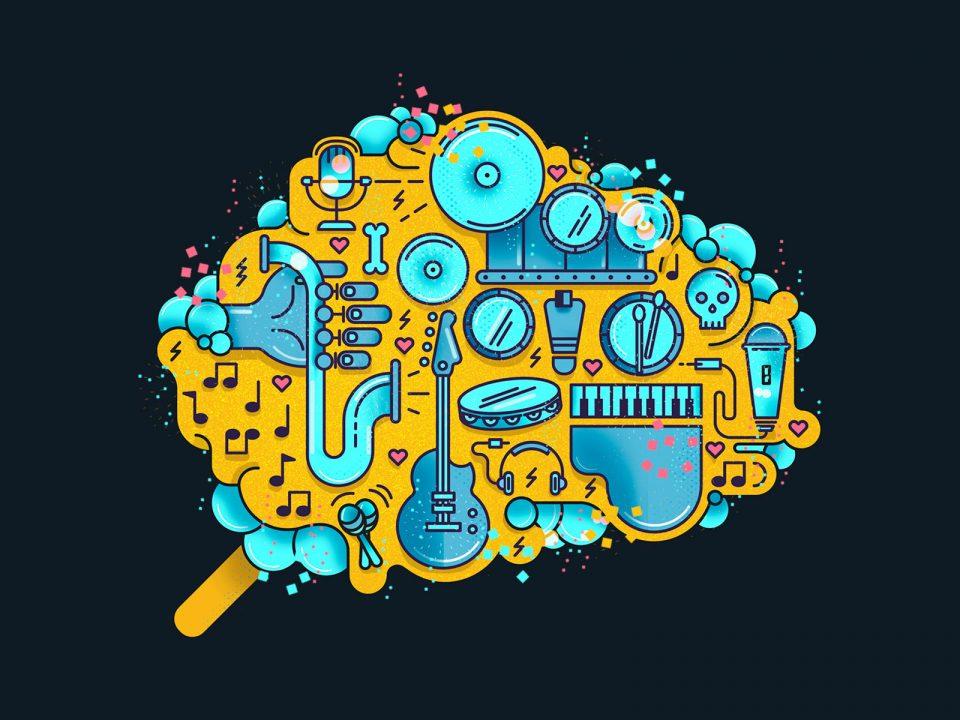 Ilustracion cerebro instrumentos musicales