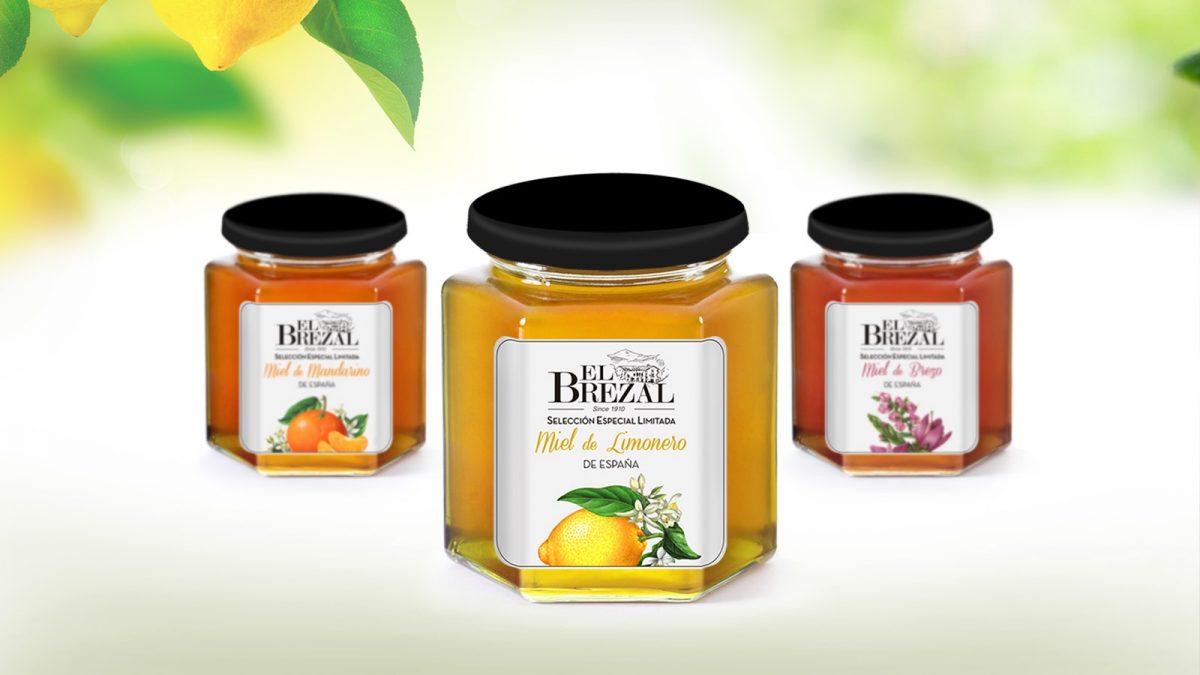Diseño etiquetas de miel, etiqueta tarros miel el brezal