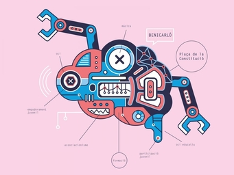 portada, poster, robot, diseño, ilustración cerebro tecnológico