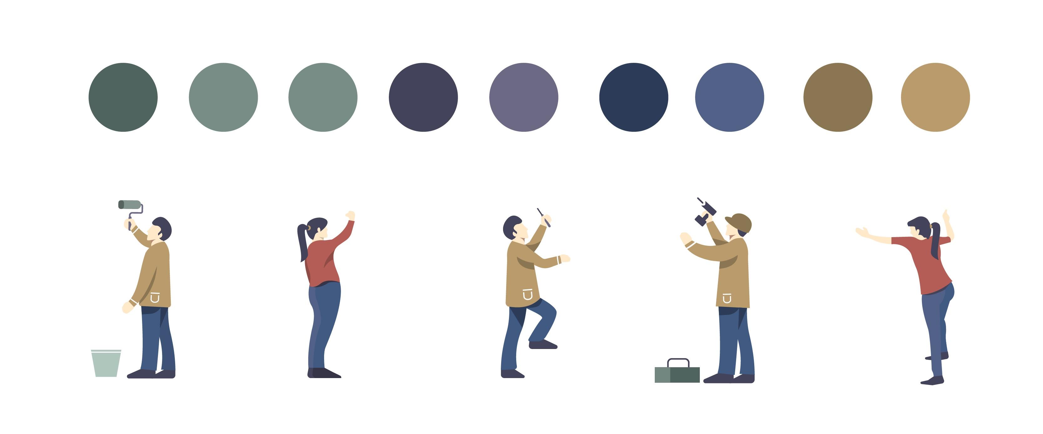 paleta de color , personajes y ilustración de escaleras y andamios