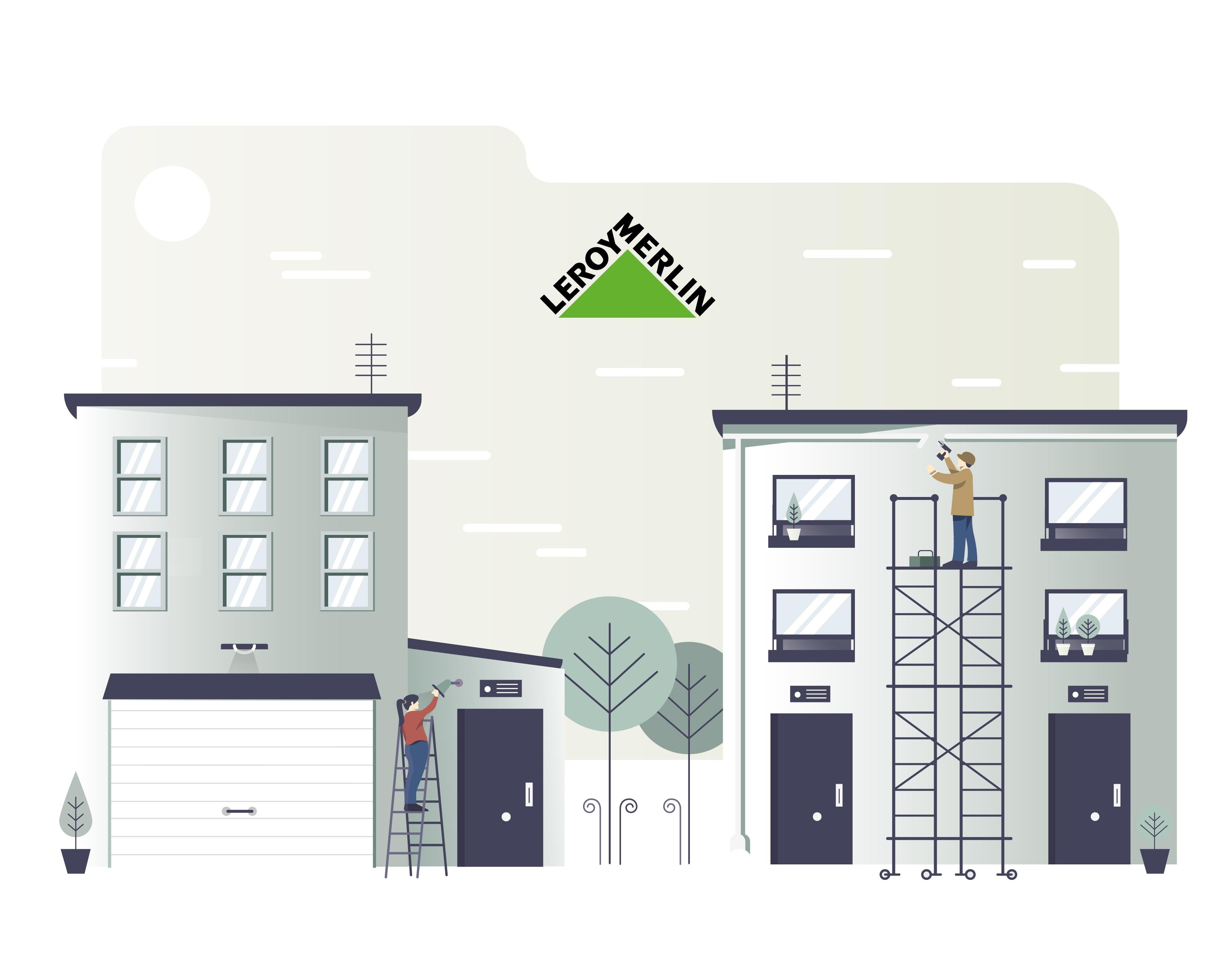 ilustración vectorial, ilustración de casas y andamios, arte digital