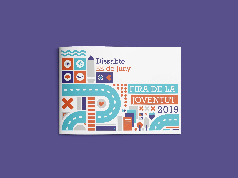 diseño y maquetación de díptico promocional para la fira de joventud 2019
