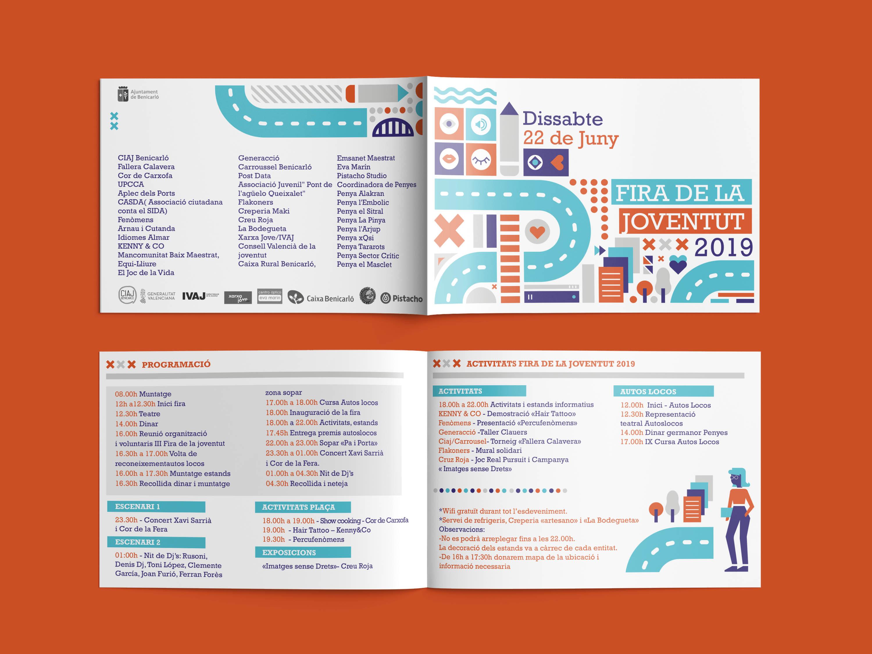 Fira de la Joventut 2019, diseño y maquetación de díptico promocional para la fira de joventud 2019