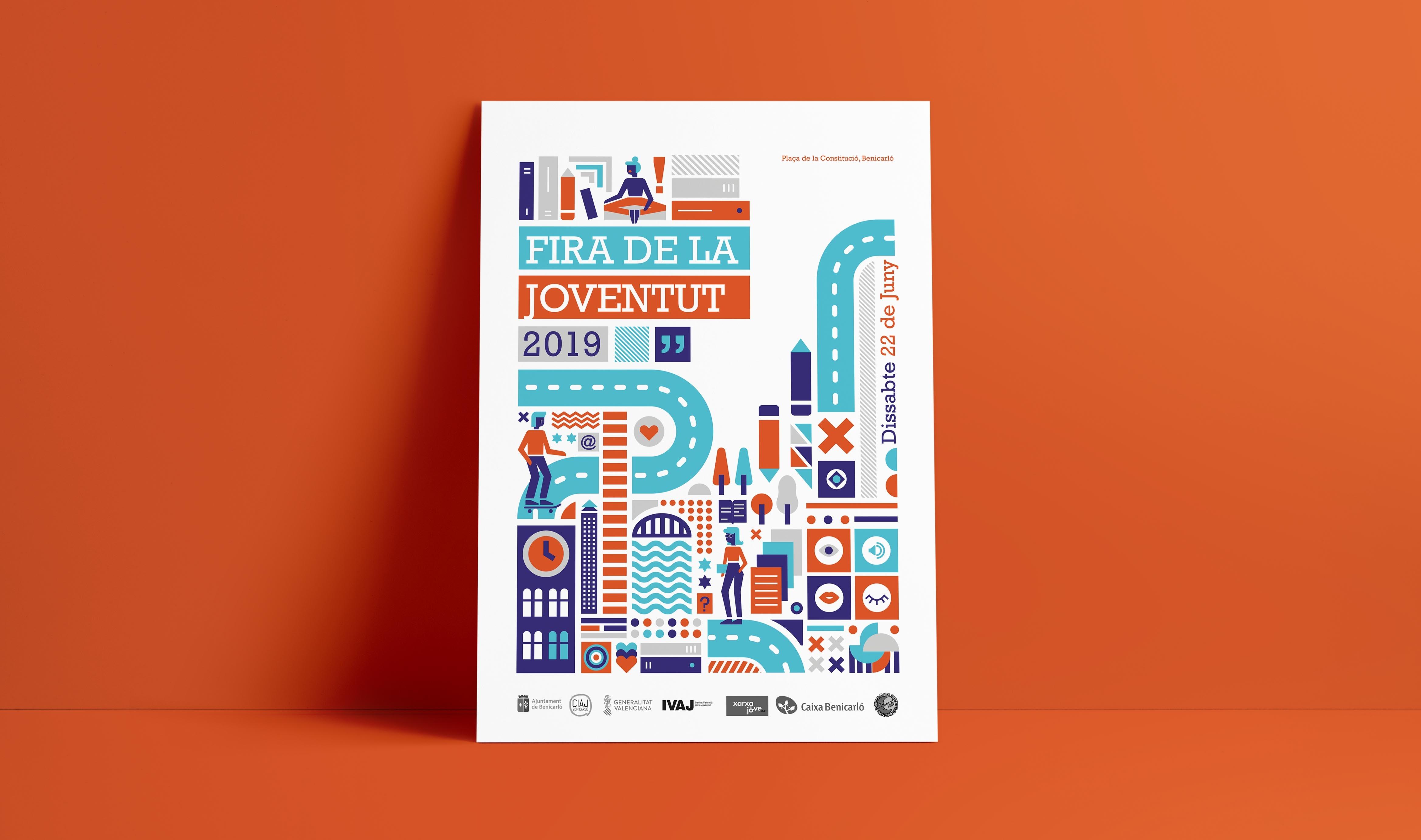 cartel con diseño geométrico diseñado para la feria de la juventud