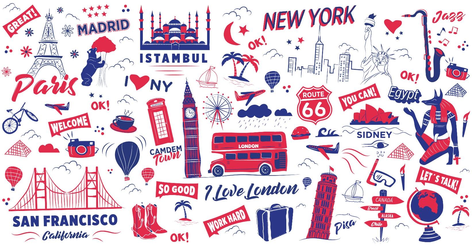 The English Studio, vector, ilustración, ilustración mural, diseño de ilustracones corporativas, Identidad Corporativa, logo, Branding, imagen visual, escuela de idiomas
