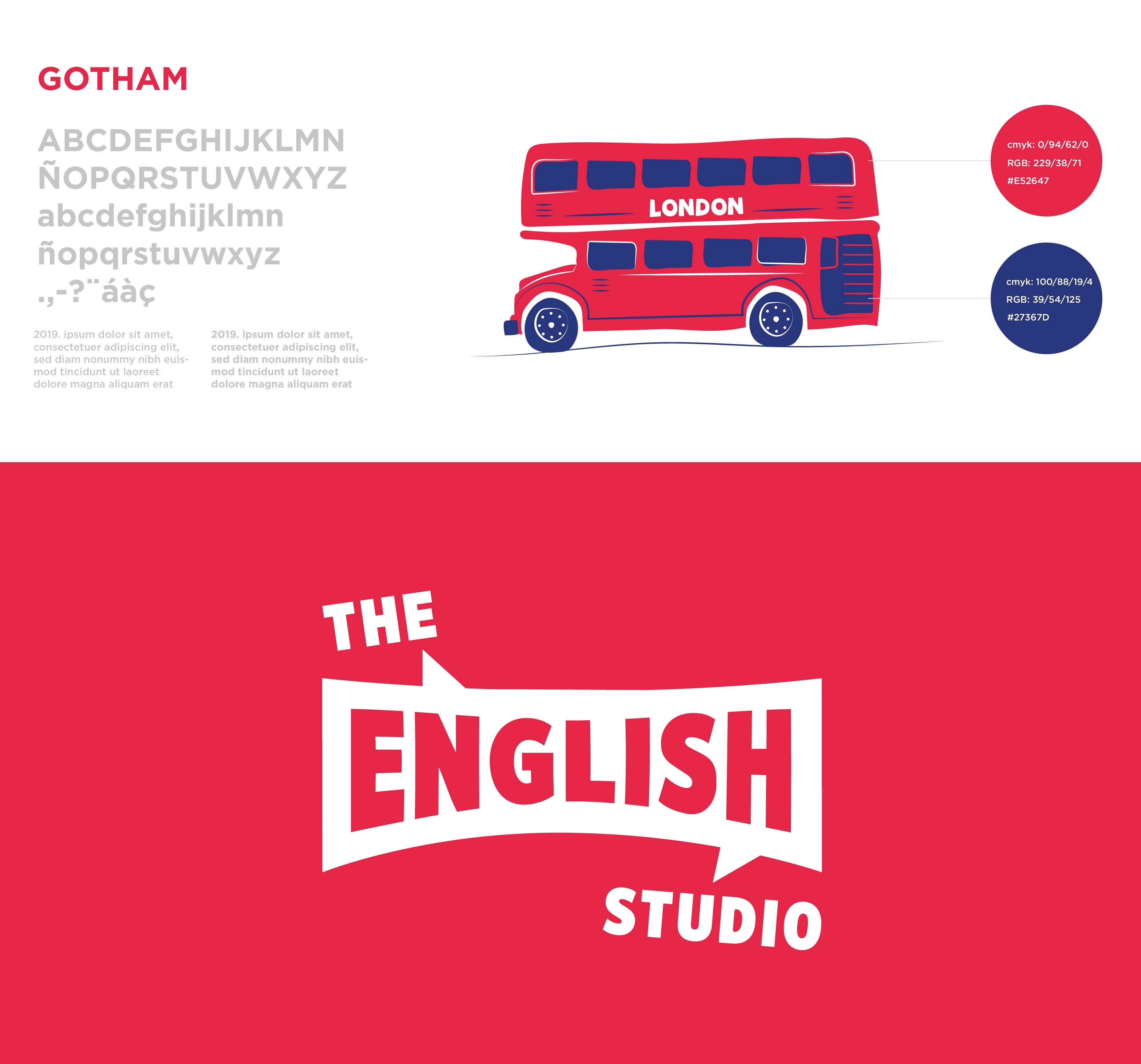 The English Studio, ilustración mural, diseño de ilustracones corporativas, Identidad Corporativa, logo, Branding, imagen visual, escuela de idiomas
