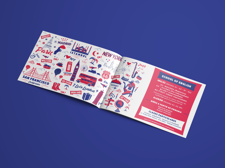 The English Studio, flyer corporativo, Identidad Corporativa, logo, Branding, imagen visual, escuela de idiomas