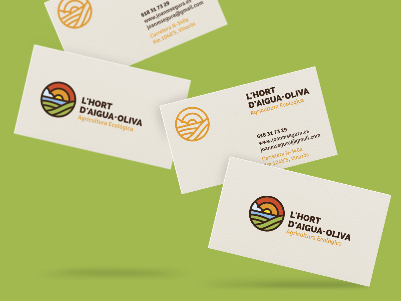 L'Hort d'Aigua-Oliva, diseño de logo, marca, identidad corporativa, logotipo, branding, packaging, tarjetas corporativas, agricultura ecológica