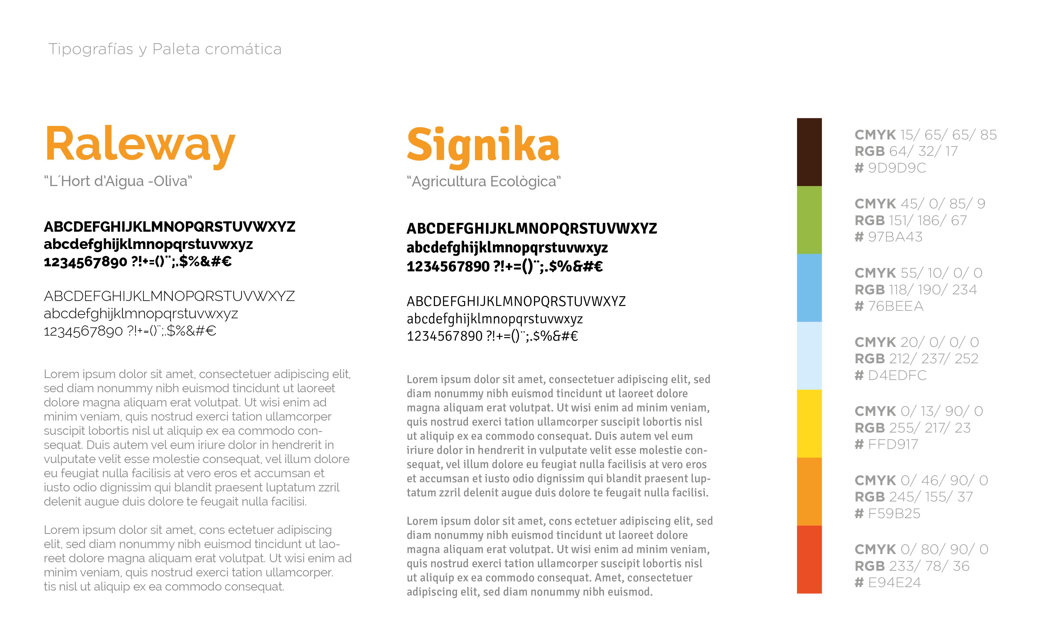 L´Hort d'Aigua-Oliva, Diseño de logotipo, tipografía corporativa, colores corporativos