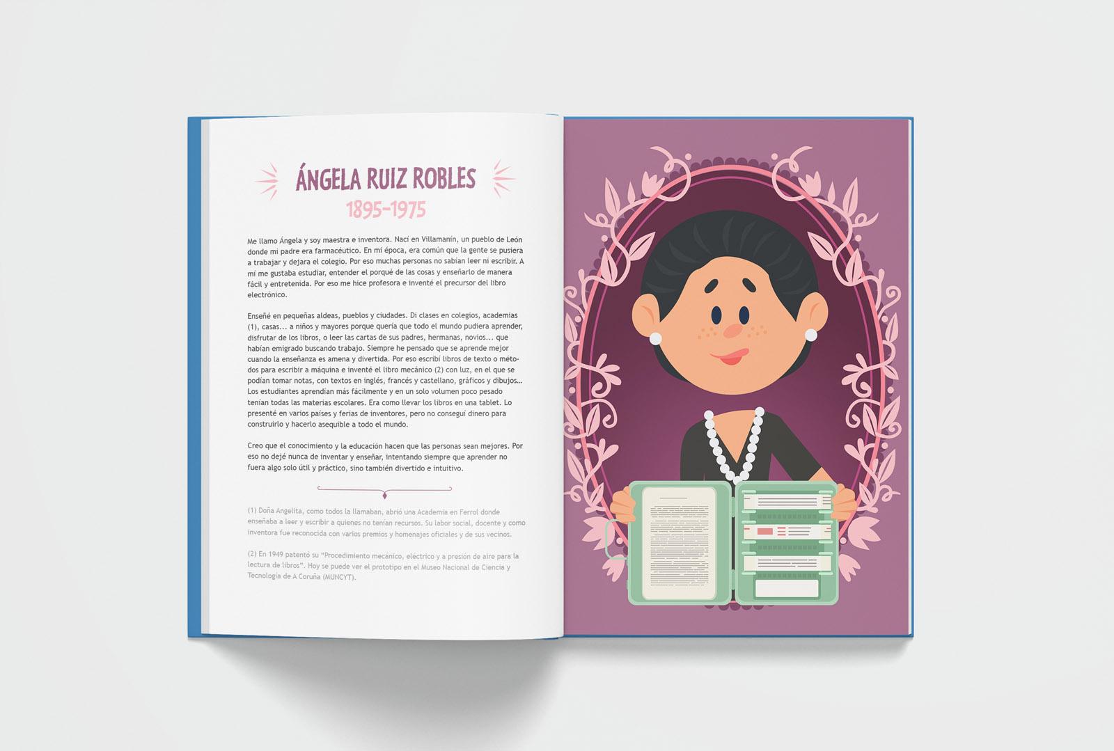 17+85 españoles ¡geniales!, lettering, diseño editorial, maquetación, libro infantil