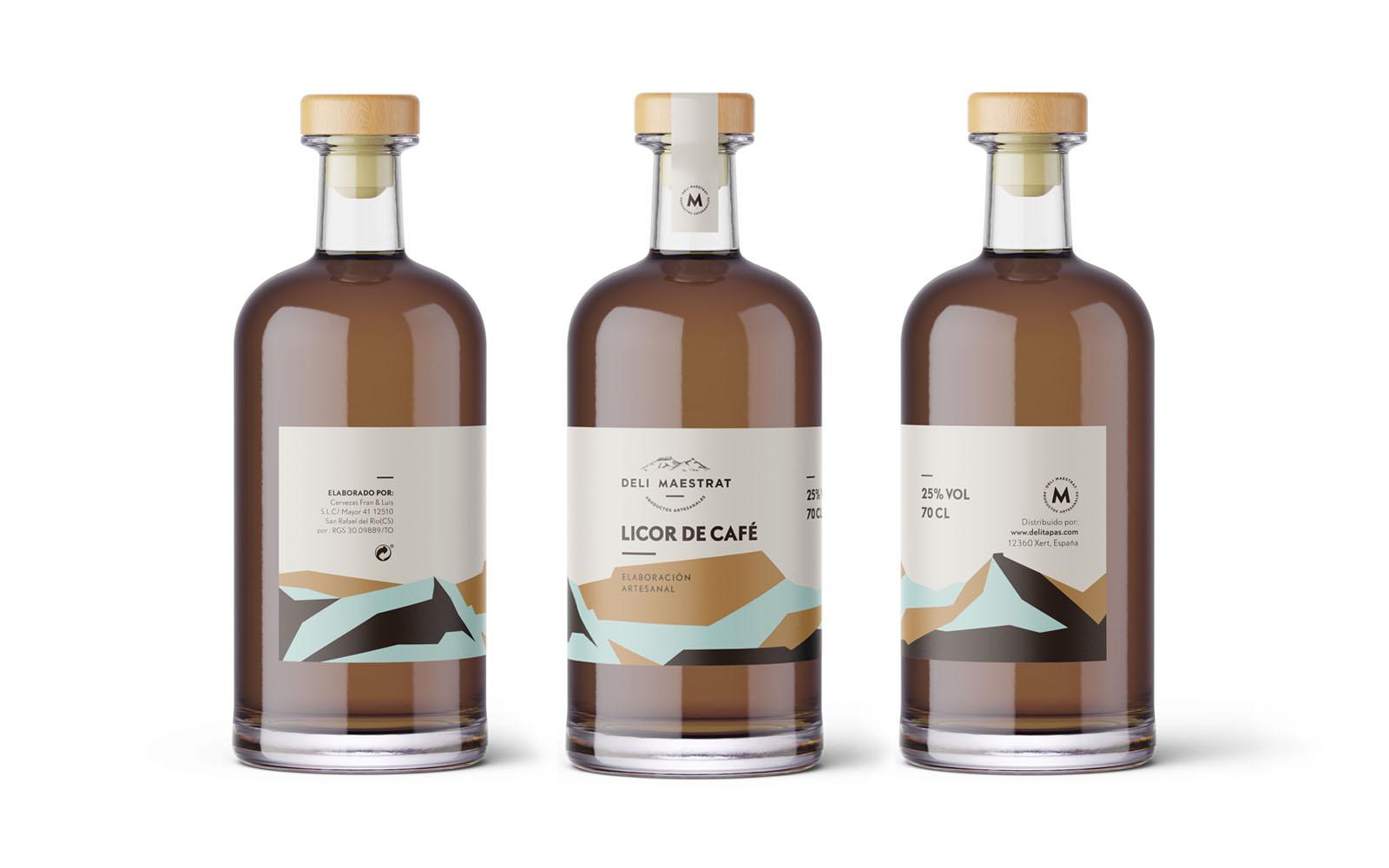 Diseño de etiqueta para licor de café Deli Maestrat