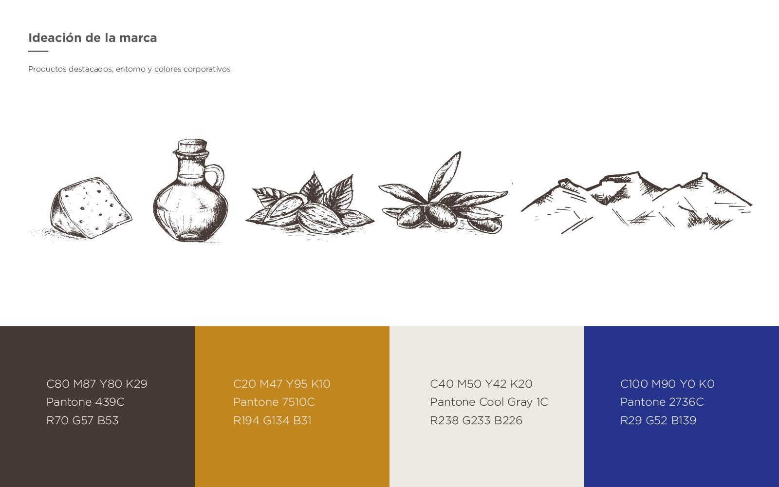 Deli Mestrat. Conceptualización de la marca, bocetos a mano y paleta de color corporativa