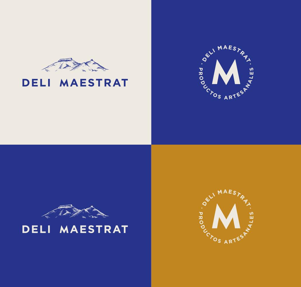 version reducida y extendida sobre paleta de color del logo Deli Maestrat