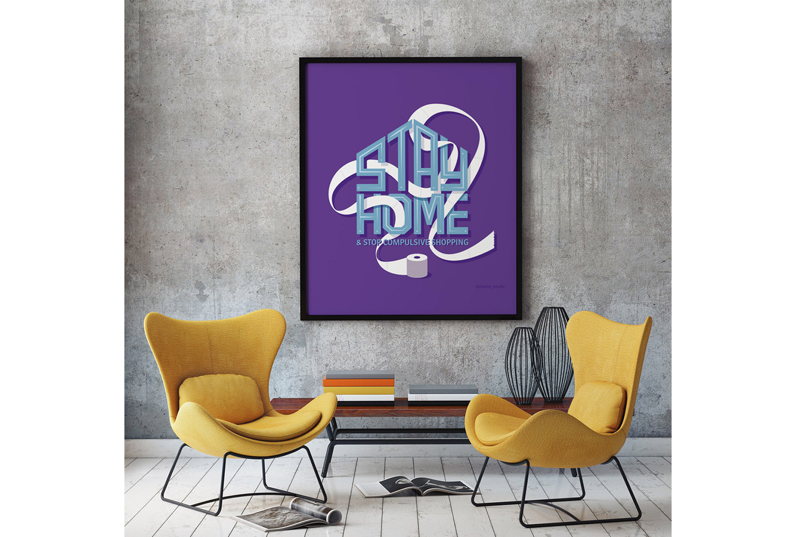 Stay Home lettering enmarcado sobre una pared