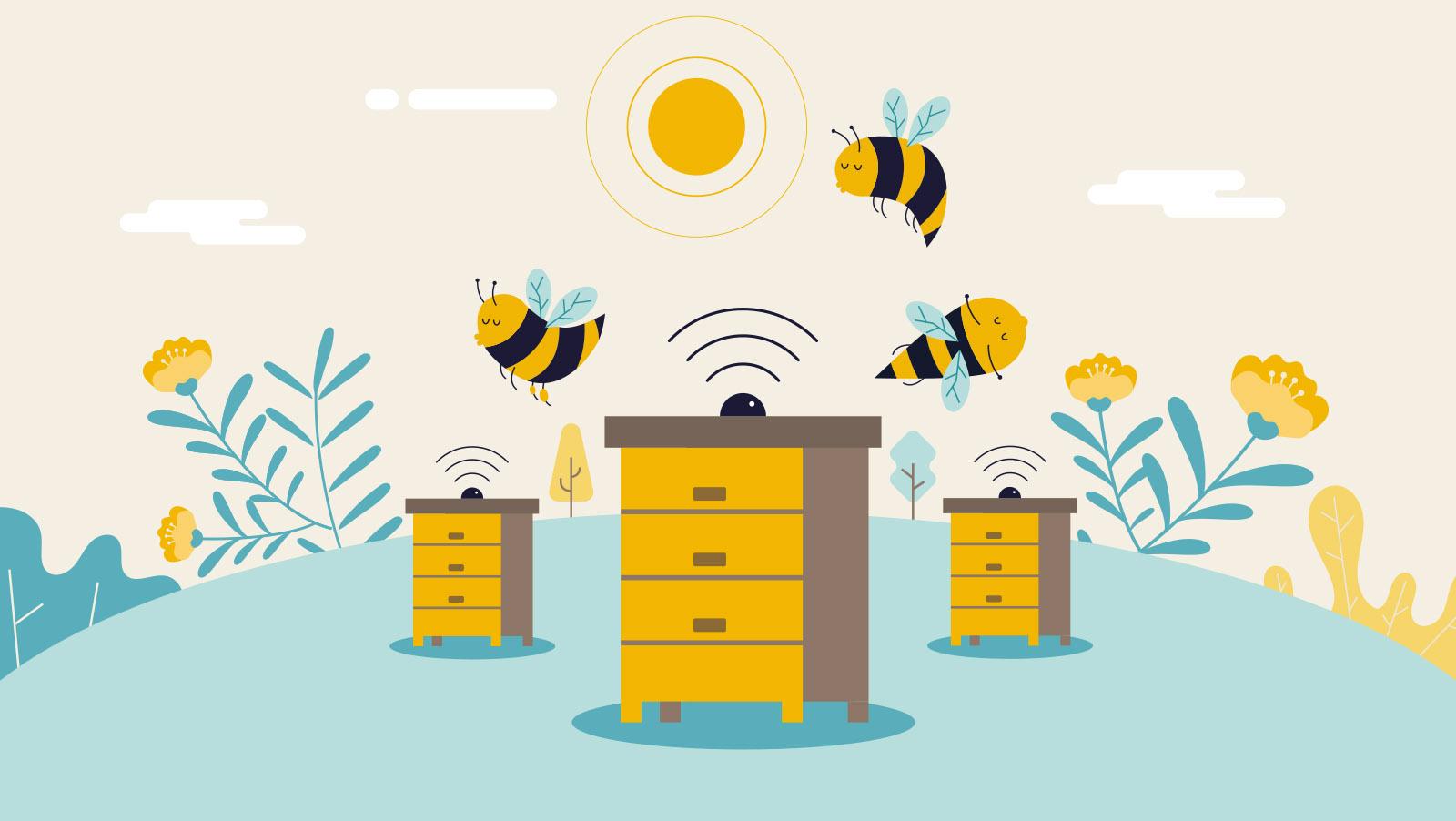 Bee2keeper video animado, ilustración vecorial, colmenas de abejas que producen miel, bee2keeper video animado