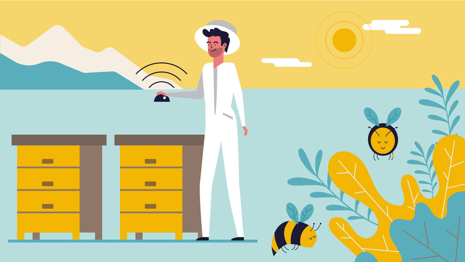 Bee2keeper video animado, ilustración vectorial de un apicultor instalando un sensor bee2keeper en la colmena