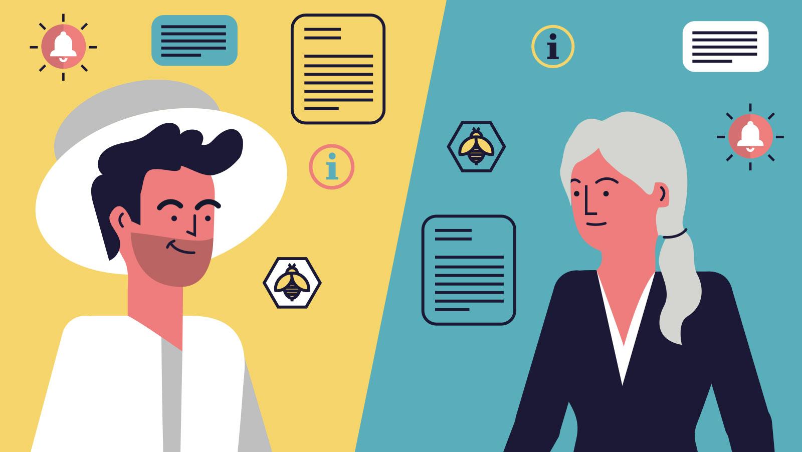 Bee2keeper video animado, ilustracion de pictogramas, apicultor y mujer de servicios sociales