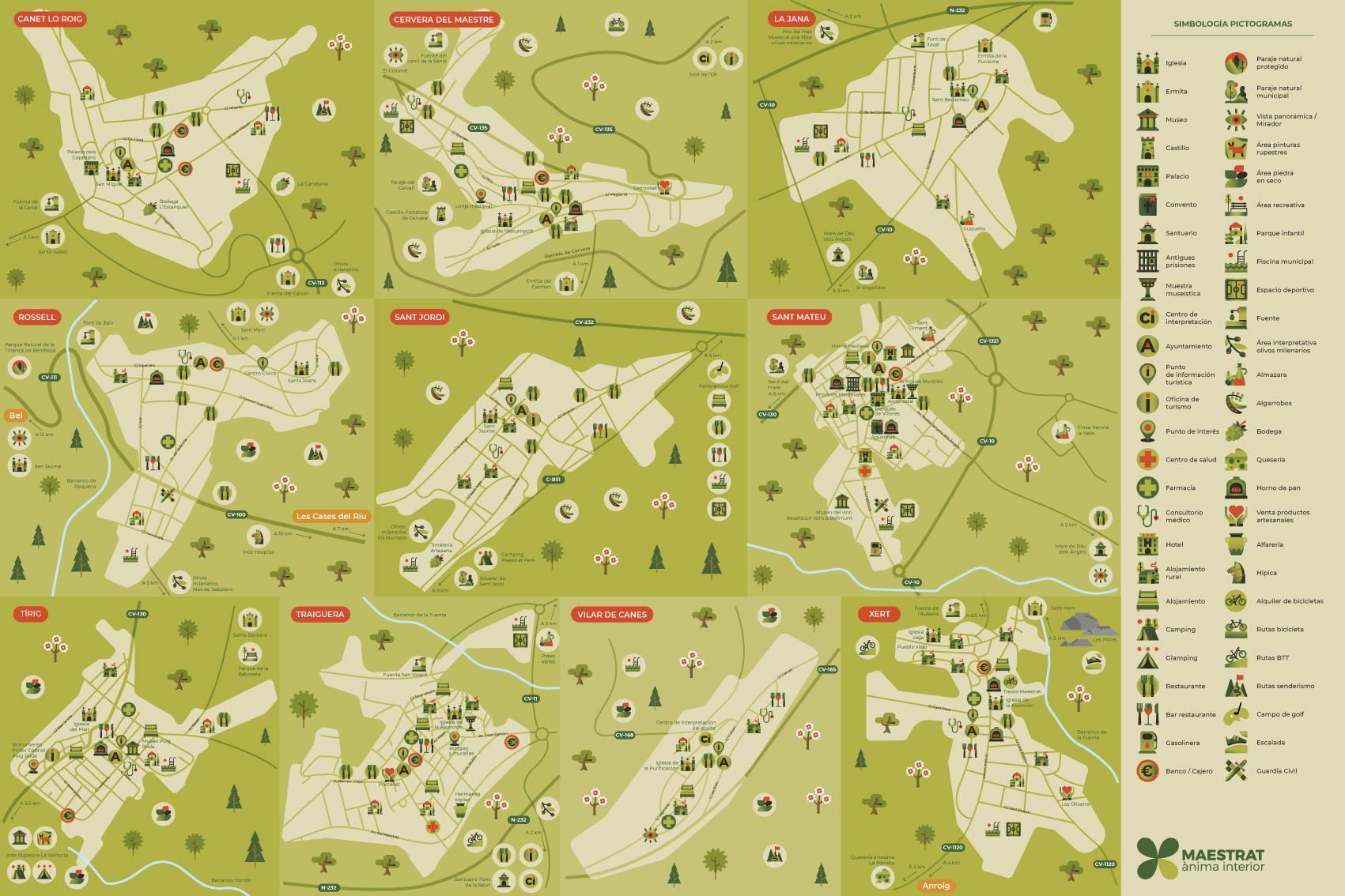 Mapa turístico ilustrado, pictogramas